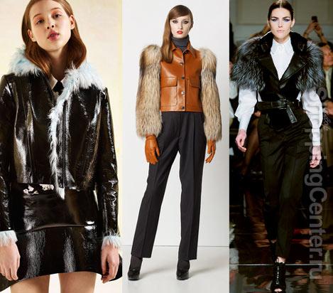 Женские кожаные куртки с мехом, фото