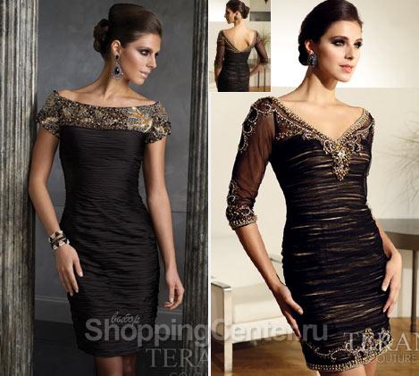 Вечерние короткие черные платья 2017, фото