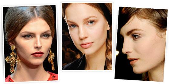 На фото модный макияж из коллеций Dolce and Gabbana, Valentino, Dries Van Noten