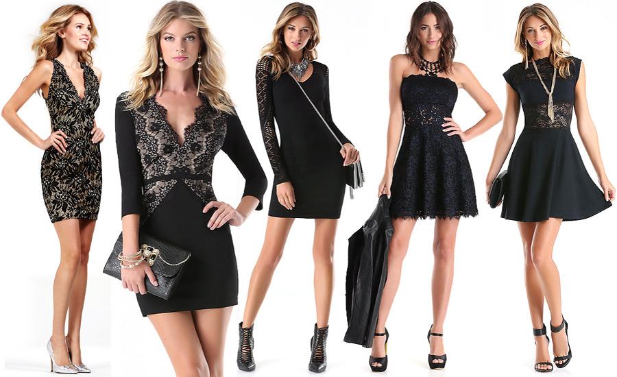 Короткие черные платья, фото Jovani и Bebe