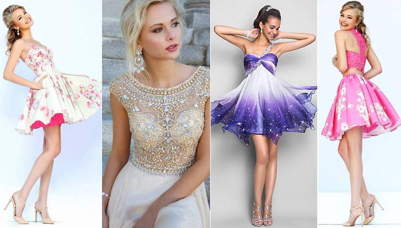 Модные короткие платья на выпускной 2017