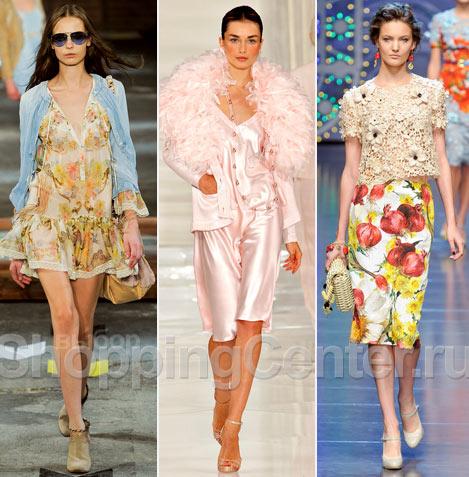 На фото:одежда в романтическом стиле из модных коллекций Just Cavalli...