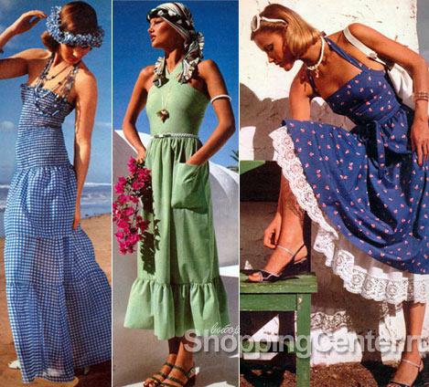 Стиль 70-х годов, платья сарафаны, фото 1976 года
