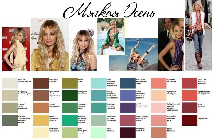 Цветотип Осень, подходящие цвета одежды и аксессуаров