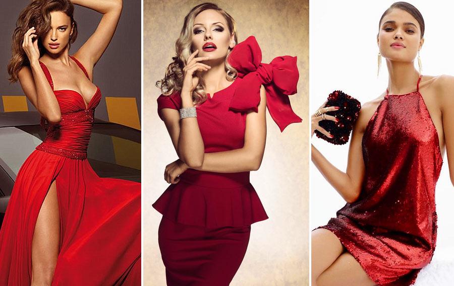 Красные платья на Новый год 2019