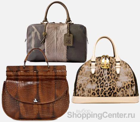 На фото женские модные сумки 2010: коричневая сумка Versace, серая с.