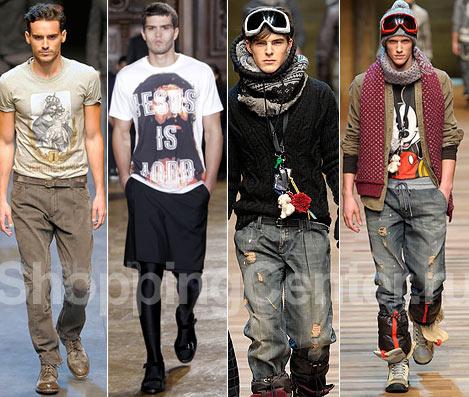 Мужская мода - 2011, фото: футболка с принтом Dolce & Gabbana, килт...