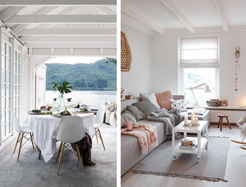 Крашенные деревянные элементы - признак скандинавского дизайна
