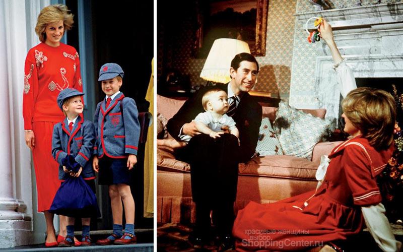Принцесса Диана с детьми и мужем Чарльзом, принцем Уэльским