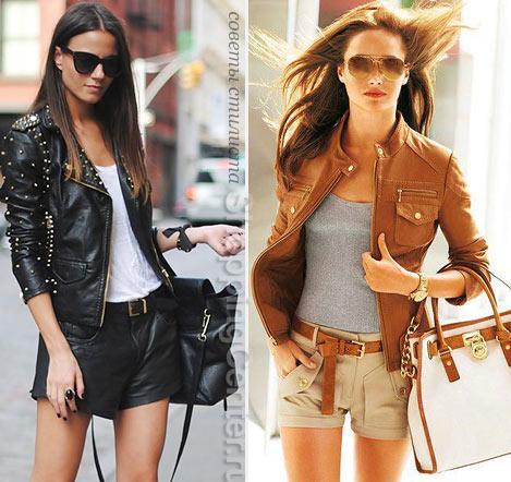 На фото: шорты и куртка из кожи