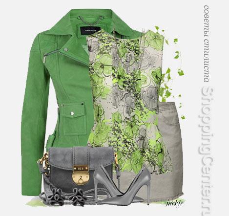 Кожаная куртка с легкой шифоновой блузкой