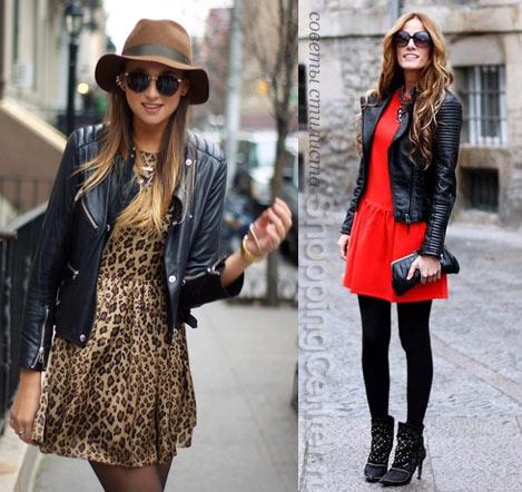 На фото: кожаная куртка с платьем