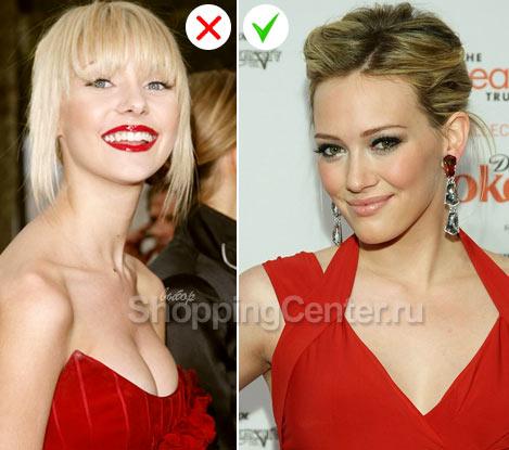 На фото:вечерний макияж под красное платье. Пример удачного и неудачного макияжа
