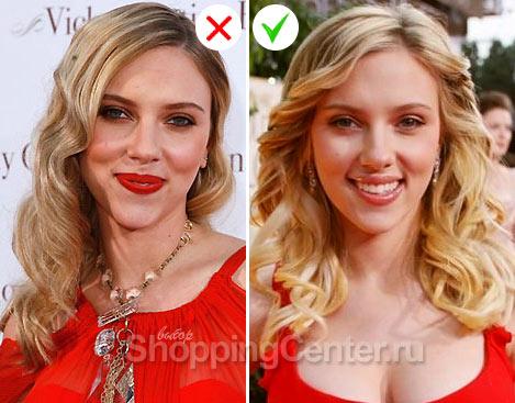 На фото: примеры макияжа 2020 к красному платью. Скарлетт Йоханссон выглядит по-разному
