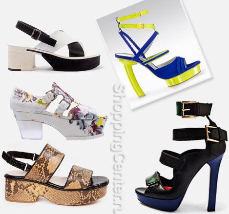 Летняя обувь из модных коллекций: Jil Sander, Erdem (цветастые), Dries Van Noten, Gio Diev (синие с желтым), Alexander McQueen