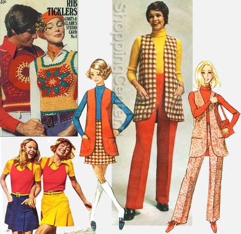 На фото: мода 70-х годов - яркие разноформатные жилеты