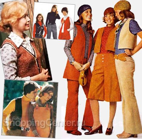 На фото Мода 1970-х годов: жилеты разной длины и цветов