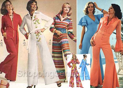 На фото Мода 70-х годов: комбинезоны