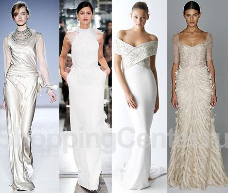 Модные свадебные платья, на фото: глянцевое платье Alberta Ferretti, платье Azzaro, платье Marchesa со шлейфом, бежевое платье Monique Lhuillier