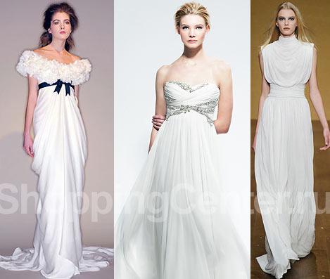 Модные свадебные платья в греческом стиле, фото: два свадебных платья Marchesa и платье Derek Lam