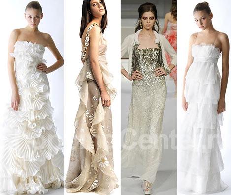 Модные свадебные платья, фото: Marchesa, Valentino, блестящее платье Oscar de la Renta, Marchesa