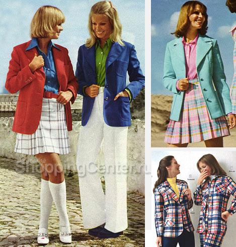 На фото - стиль 70-х годов: пиджак можно носить с чем угодно, - с юбками в клетку или с брюками-клеш