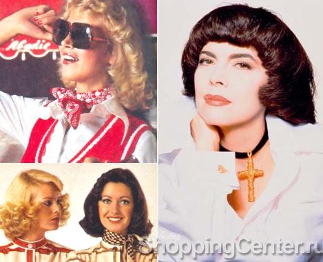 Модные прически 70-х годов, справа - Мирей Матье