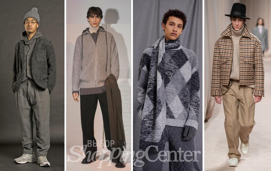 Мужская мода 2019: теплые вязаные вещи - свитера, кофты, джемперы. Фото: Engineered Garments, Maison Kitsune, Pringle of Scotland, Ami