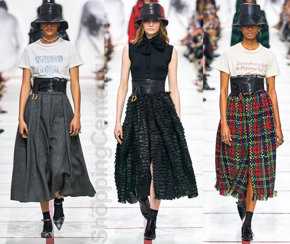 На фото модные юбки из коллекции Christian Dior