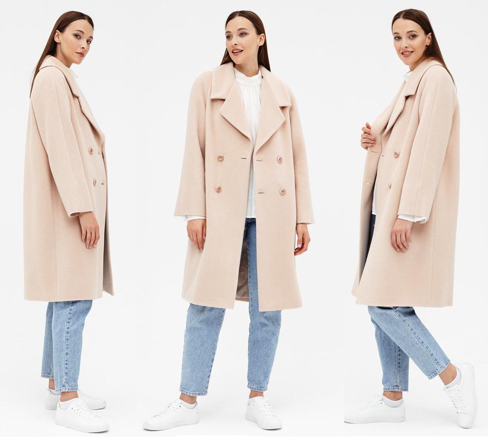 Бежевое пальто пудрового оттенка