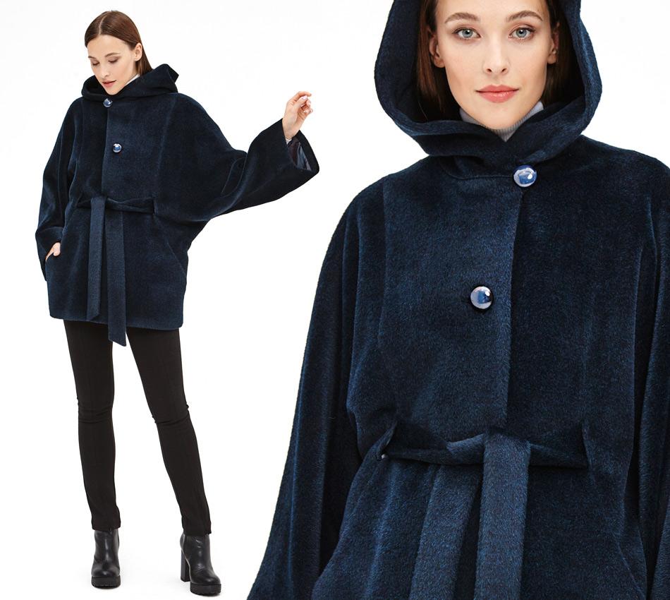 Короткое пальто сапфирового цвета