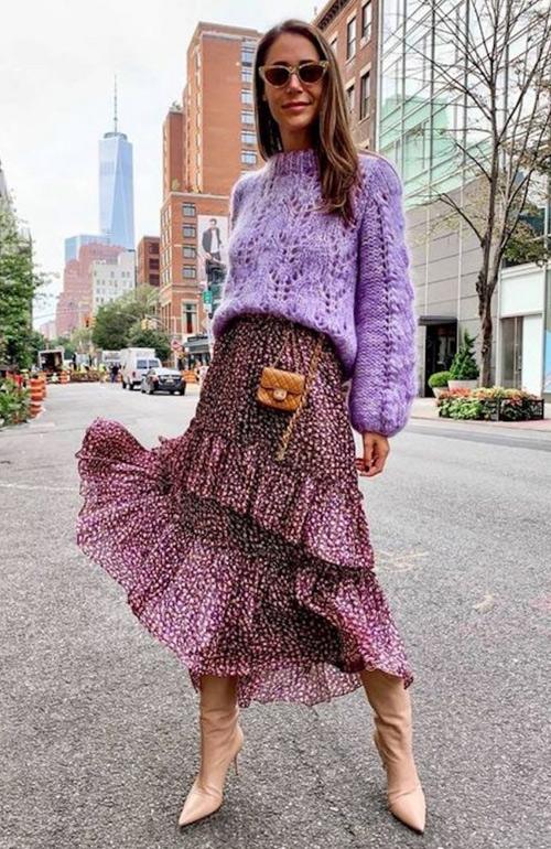 Платье, свитер и сапоги