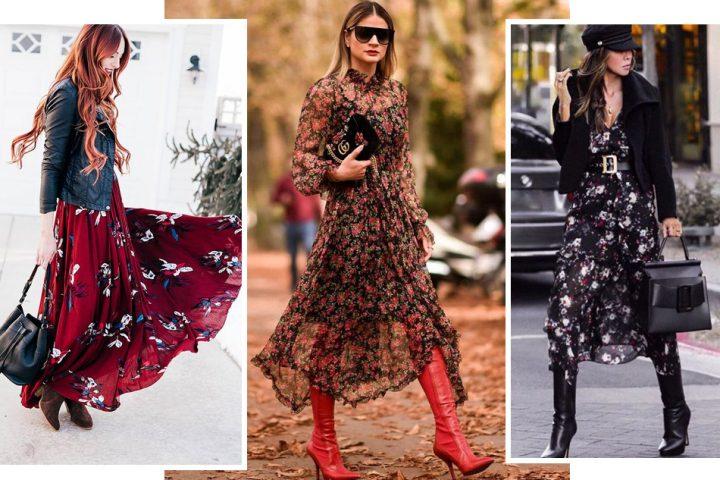 15 идей, как красиво носить длинное платье с сапогами