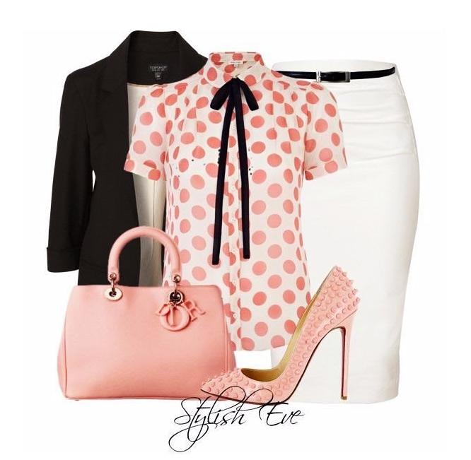 Блузка в розовый горошек
