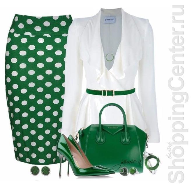 Зеленая юбка в горошек