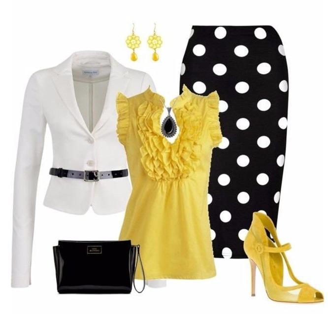 Черная юбка в белый горошек
