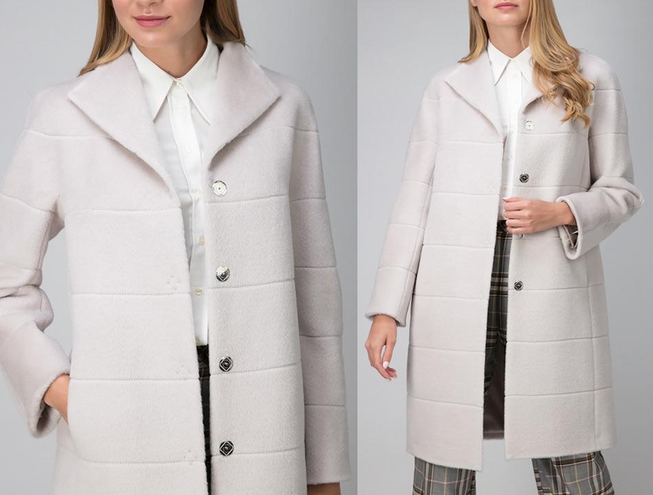 Светлое пальто для полной фигуры