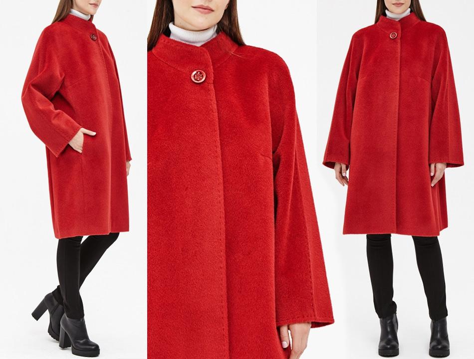 Красное пальто для полных женщин