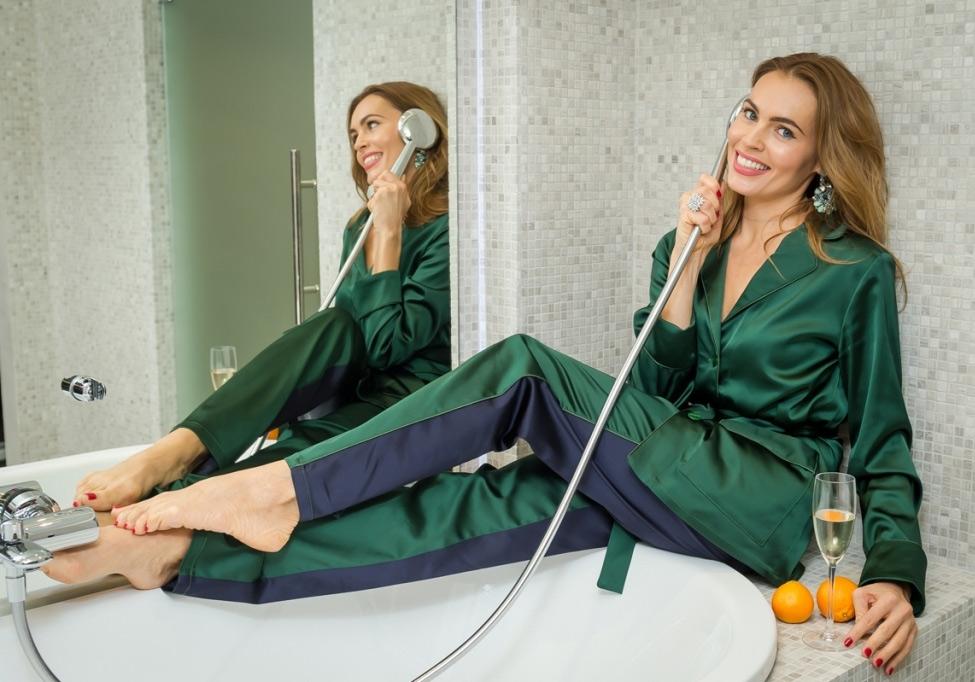 Зеленая пижама из коллекции Noele by Polina Askeri