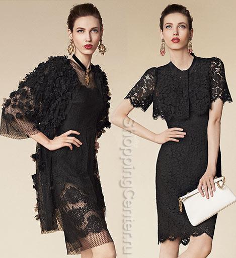 На фото черные кружевные платья из коллекции Dolce&Gabbana