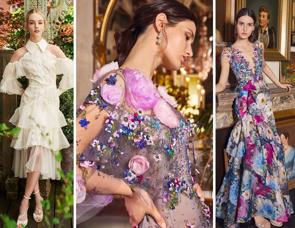 На фото платья романтического стиля из коллекции Marchesa