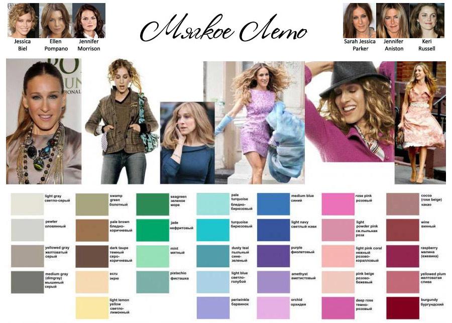 Подходящие цвета для цветотипа Мягкое Лето с примерами комплектов одежды