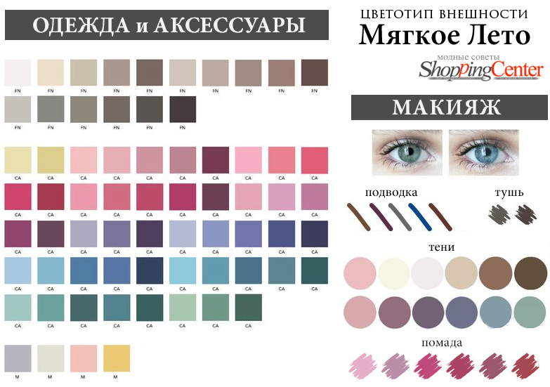 Цветотип Мягкое Лето: палитра, цвета в одежде и макияже