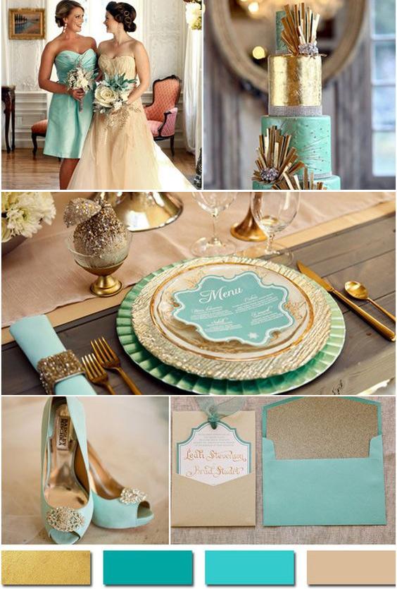 На фото модная свадьба в мятно-золотистых тонах