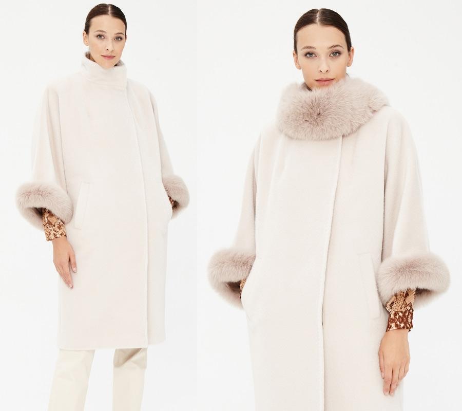 Белое зимнее пальто