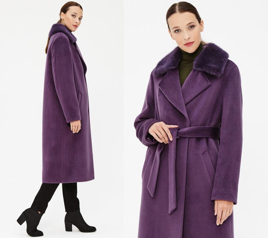 Зимнее пальто лавандового цвета