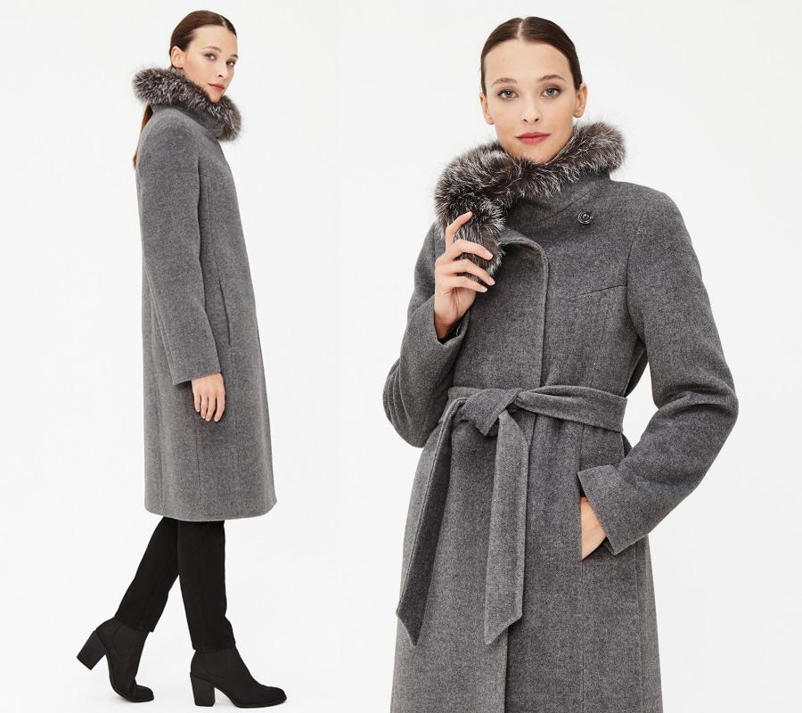 Серое пальто для зимы