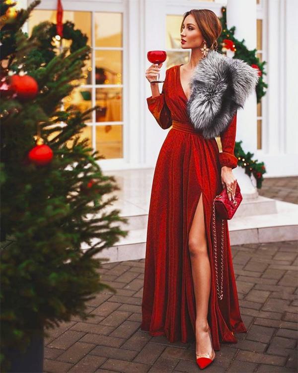 Новогоднее платье с мехом
