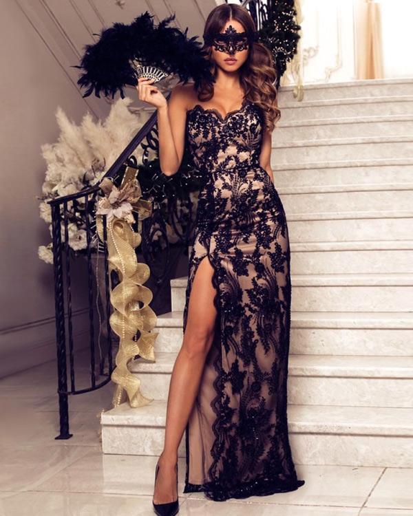 Черное кружевное новогоднее платье