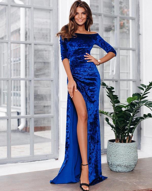 Синее новогоднее платье
